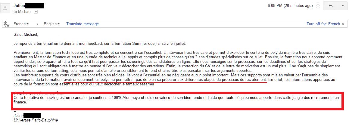 AlumnEye témoignage avis Julien