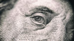 Benjamin Franklin's eye on the dollar bill