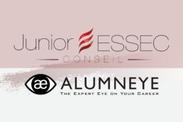 Logos de Junior ESSEC Conseil et AlumnEye séparés par un axe vertical